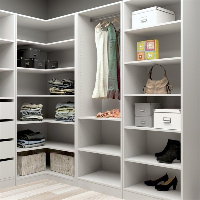 Flexi Storage White 6 Shelf Walk In Wardrobe Unit | Bunnings Warehouse